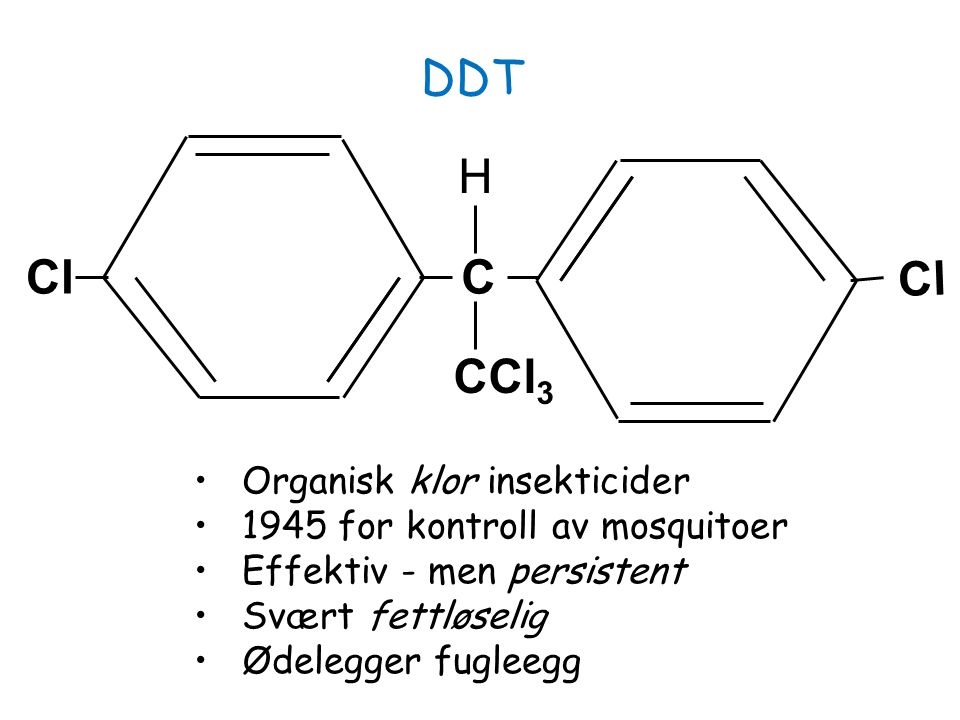 DDT H Cl C Cl CCl3 Organisk klor insekticider