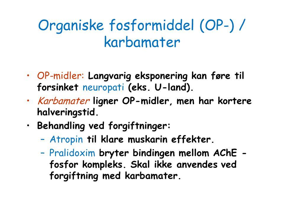 Organiske fosformiddel (OP-) / karbamater