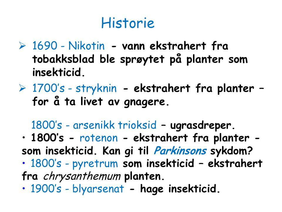 Historie 1690 - Nikotin - vann ekstrahert fra tobakksblad ble sprøytet på planter som insekticid.