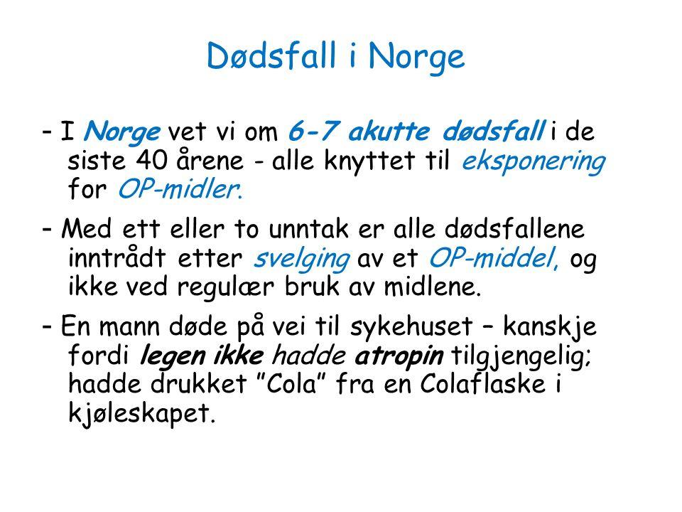Dødsfall i Norge - I Norge vet vi om 6-7 akutte dødsfall i de siste 40 årene - alle knyttet til eksponering for OP-midler.
