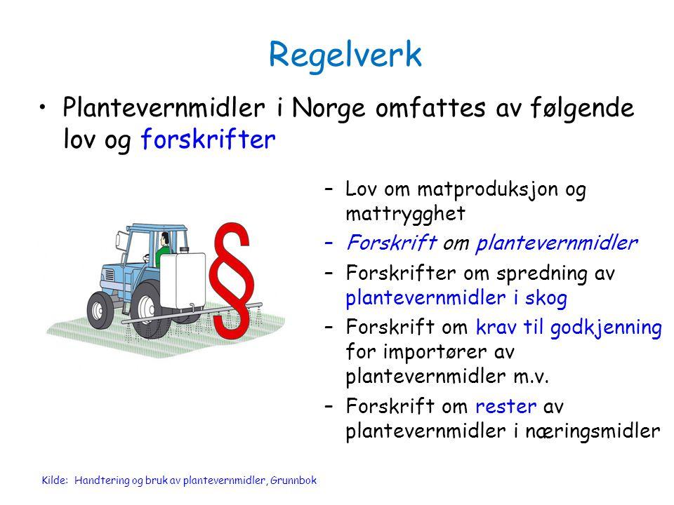 Regelverk Plantevernmidler i Norge omfattes av følgende lov og forskrifter. Lov om matproduksjon og mattrygghet.