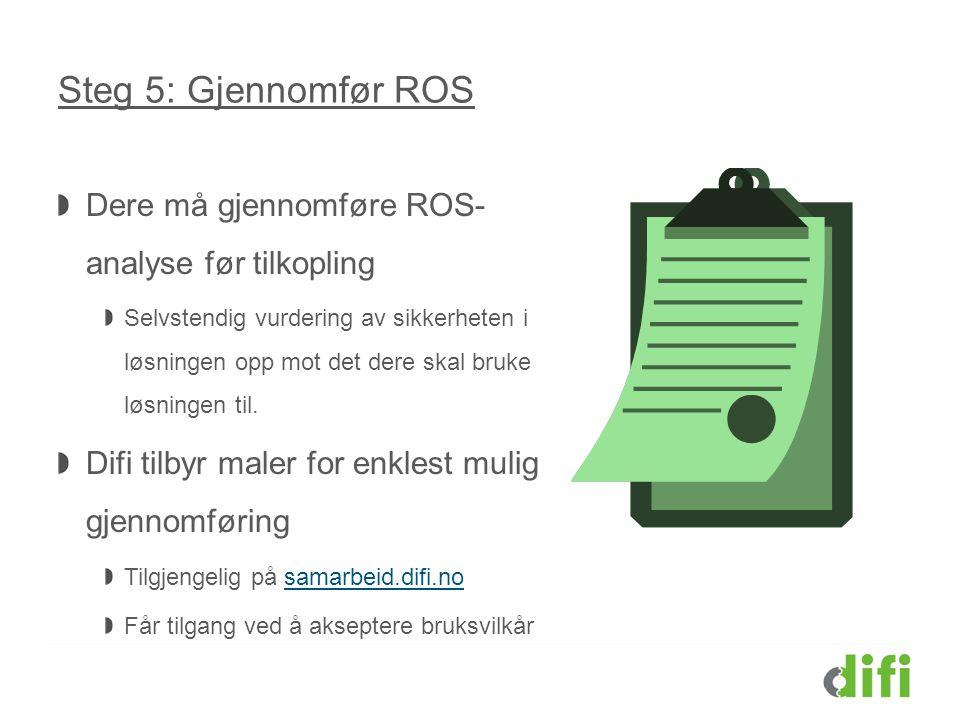 Steg 5: Gjennomfør ROS Dere må gjennomføre ROS-analyse før tilkopling