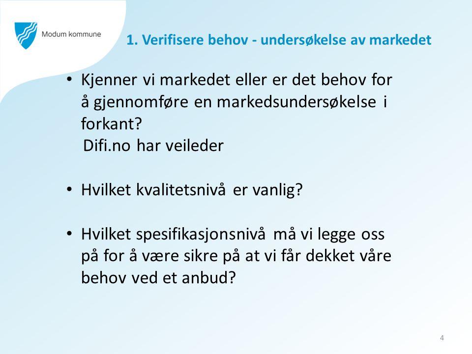 1. Verifisere behov - undersøkelse av markedet