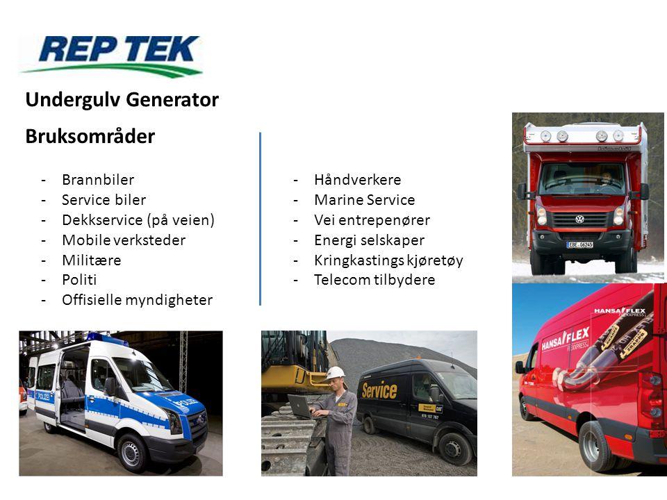 Undergulv Generator Bruksområder Brannbiler Service biler