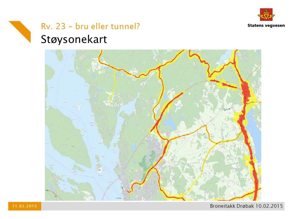 Støysonekart Rv. 23 – bru eller tunnel Broneitakk Drøbak 10.02.2015
