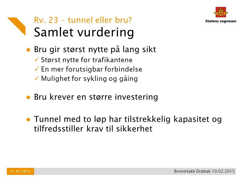 Samlet vurdering Rv. 23 – tunnel eller bru