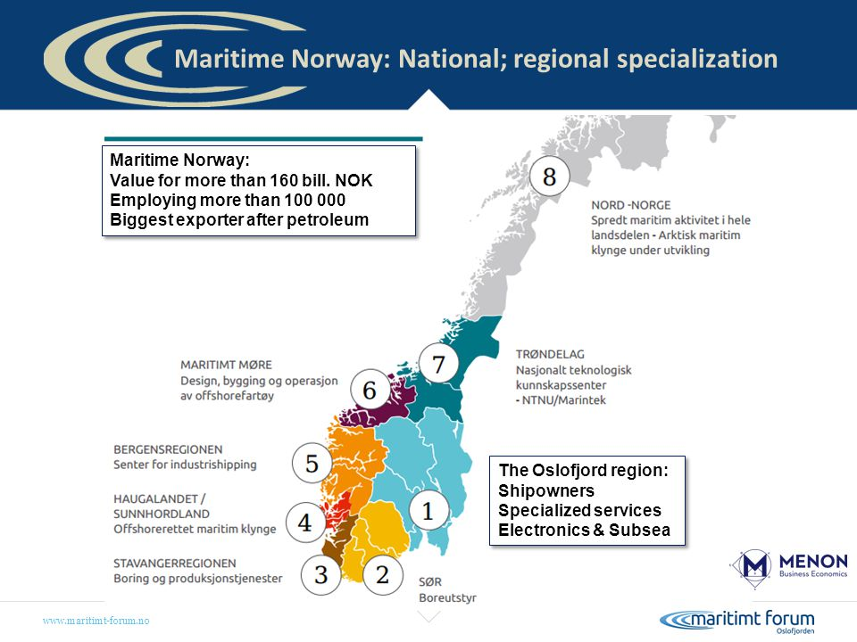 Maritime Norway: National; regional specialization