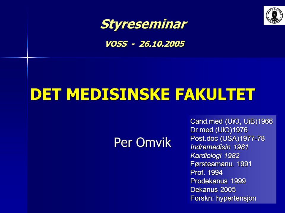 Styreseminar VOSS - 26.10.2005 DET MEDISINSKE FAKULTET Per Omvik
