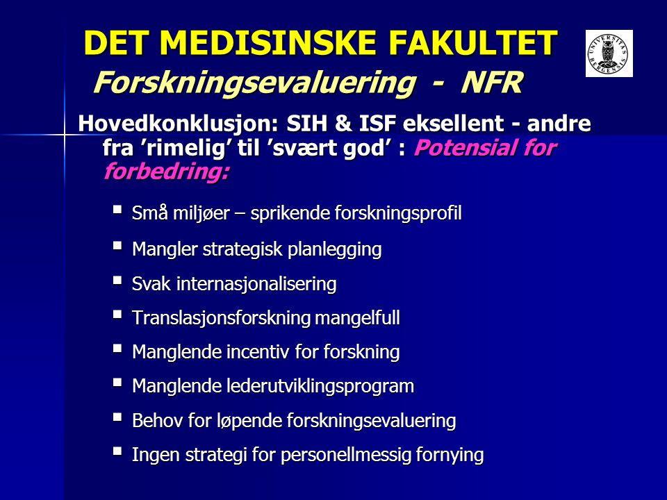 DET MEDISINSKE FAKULTET Forskningsevaluering - NFR