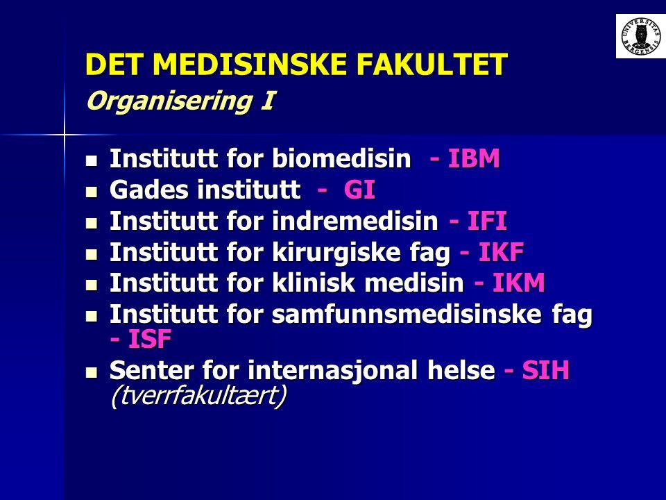 DET MEDISINSKE FAKULTET Organisering I