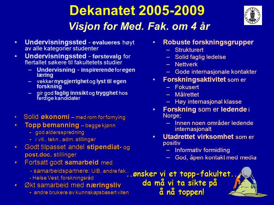 Dekanatet 2005-2009 Visjon for Med. Fak. om 4 år