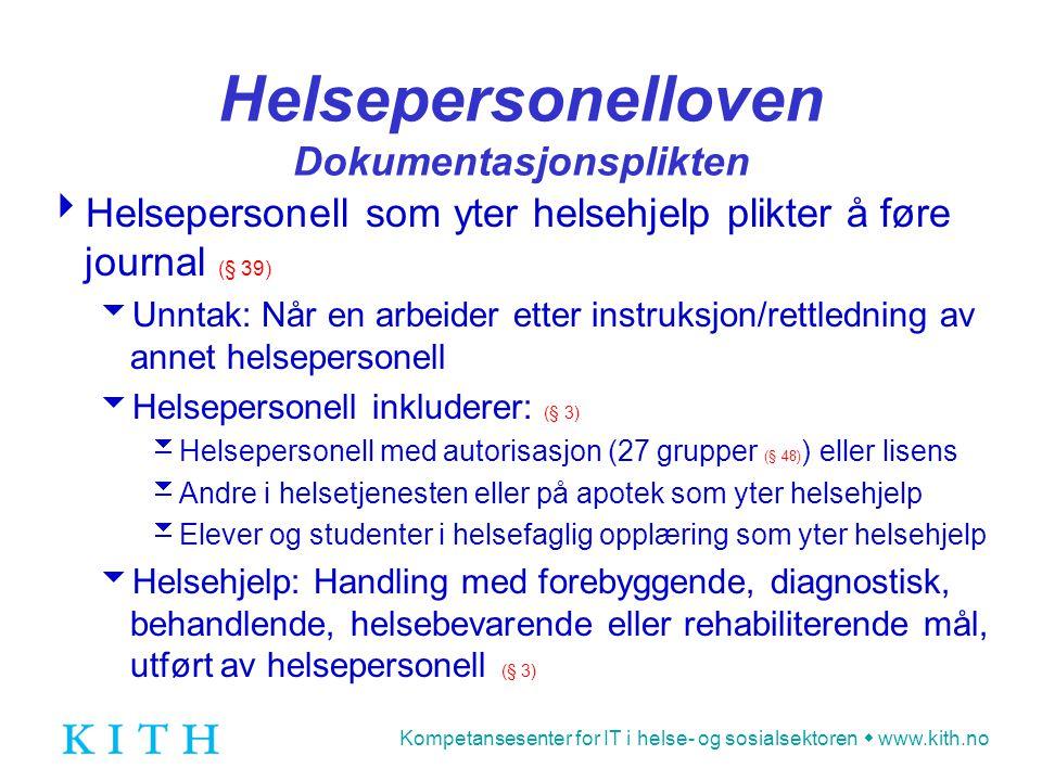 Helsepersonelloven Dokumentasjonsplikten