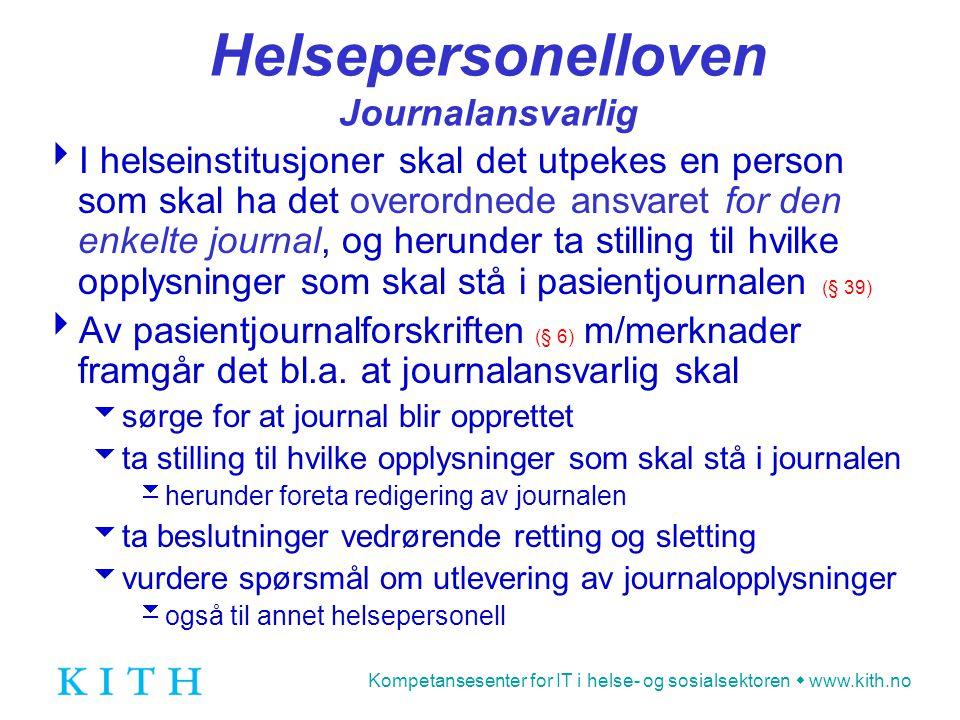 Helsepersonelloven Journalansvarlig