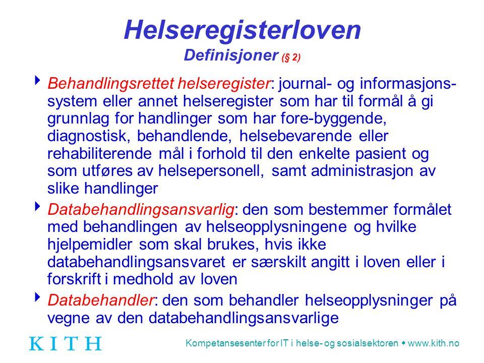 Helseregisterloven Definisjoner (§ 2)