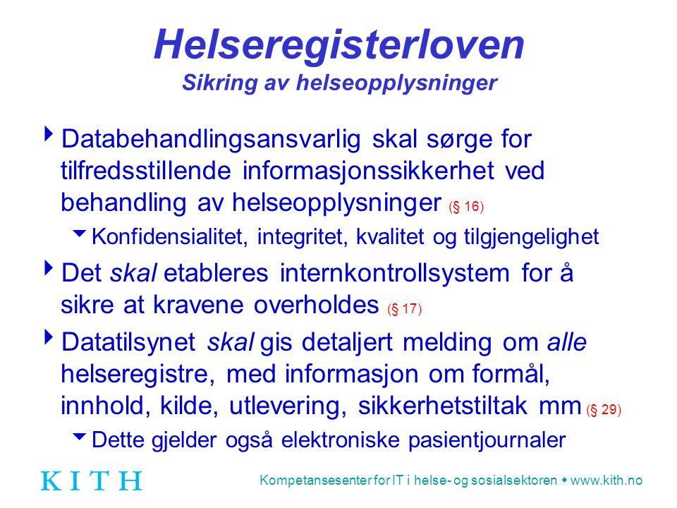 Helseregisterloven Sikring av helseopplysninger