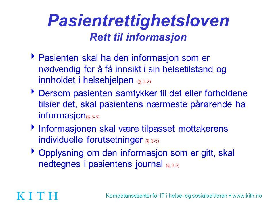 Pasientrettighetsloven Rett til informasjon