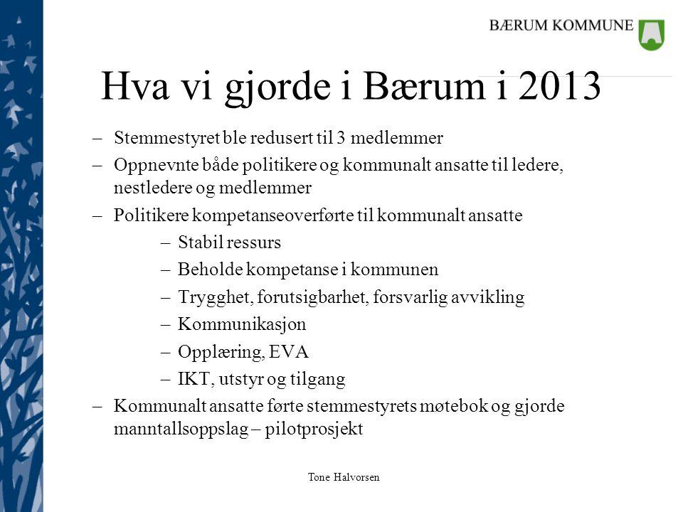 Hva vi gjorde i Bærum i 2013 Stemmestyret ble redusert til 3 medlemmer