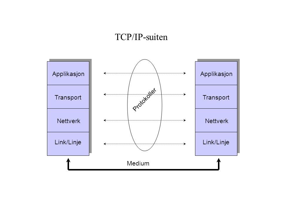 TCP/IP-suiten Applikasjon Applikasjon Transport Transport Protokoller
