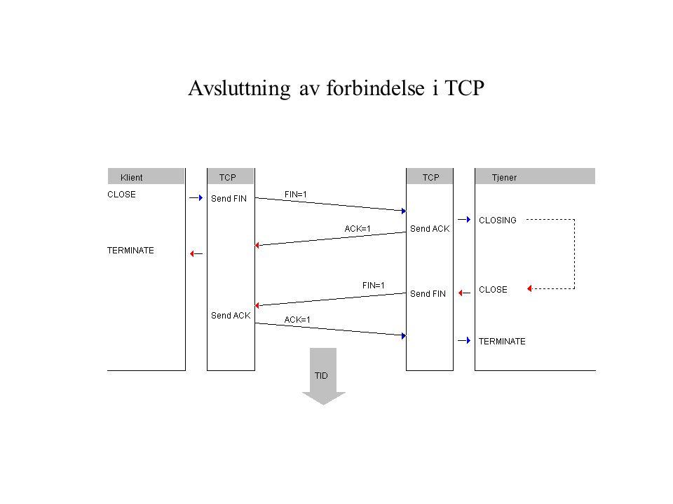 Avsluttning av forbindelse i TCP