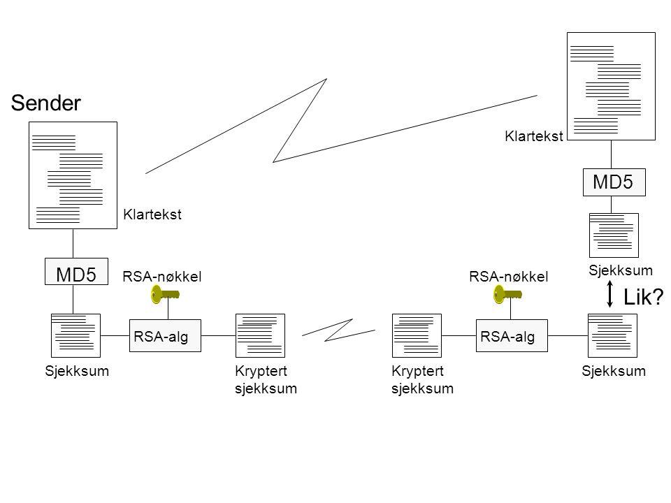 Sender Lik MD5 MD5 Klartekst Klartekst Sjekksum RSA-nøkkel RSA-nøkkel
