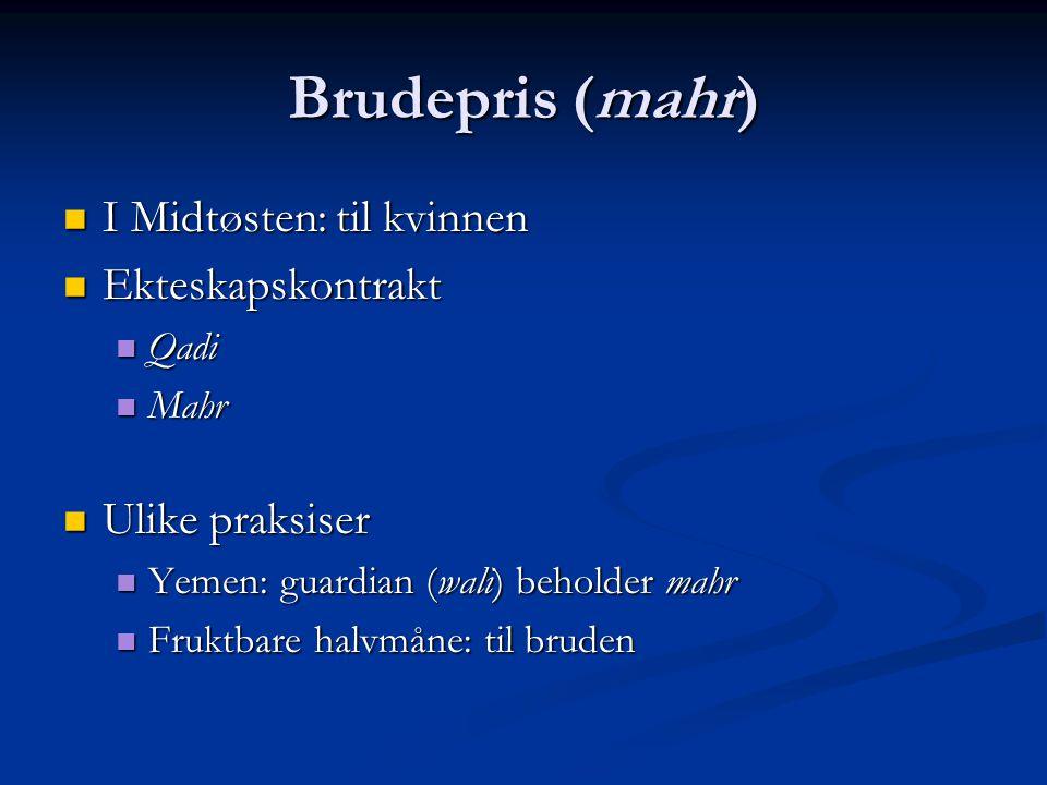 Brudepris (mahr) I Midtøsten: til kvinnen Ekteskapskontrakt