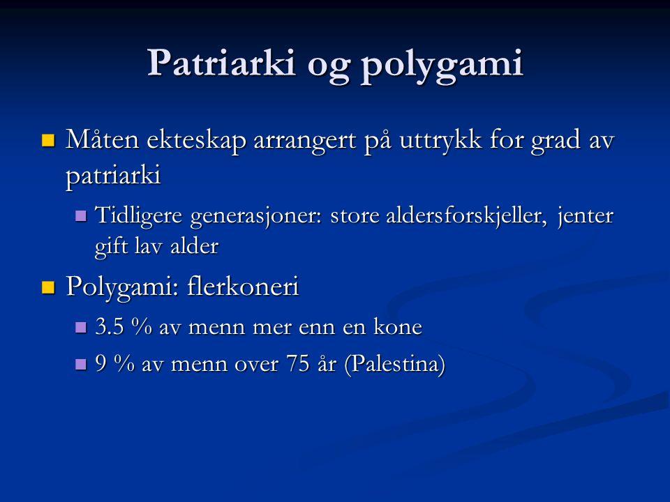 Patriarki og polygami Måten ekteskap arrangert på uttrykk for grad av patriarki.