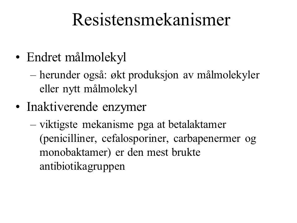 Resistensmekanismer Endret målmolekyl Inaktiverende enzymer