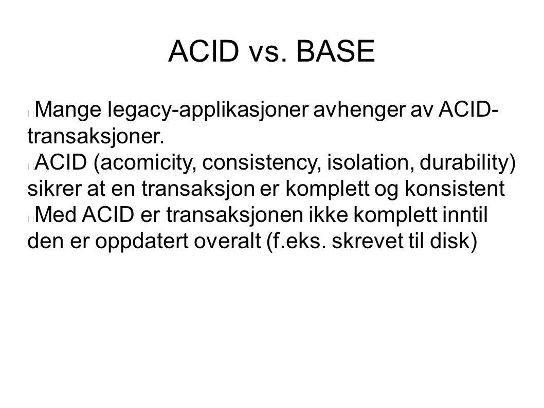ACID vs. BASE Mange legacy-applikasjoner avhenger av ACID-transaksjoner.