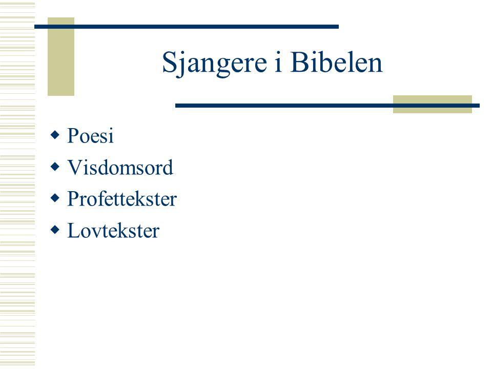 Sjangere i Bibelen Poesi Visdomsord Profettekster Lovtekster