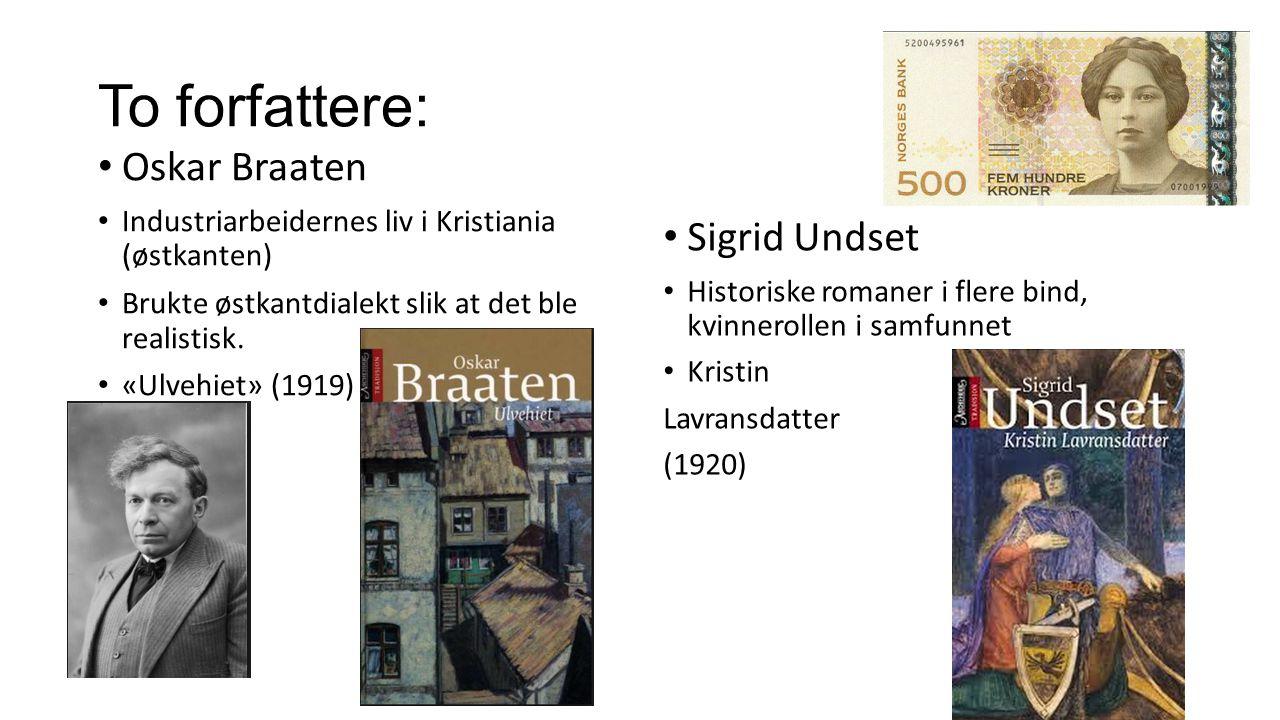 To forfattere: Oskar Braaten Sigrid Undset