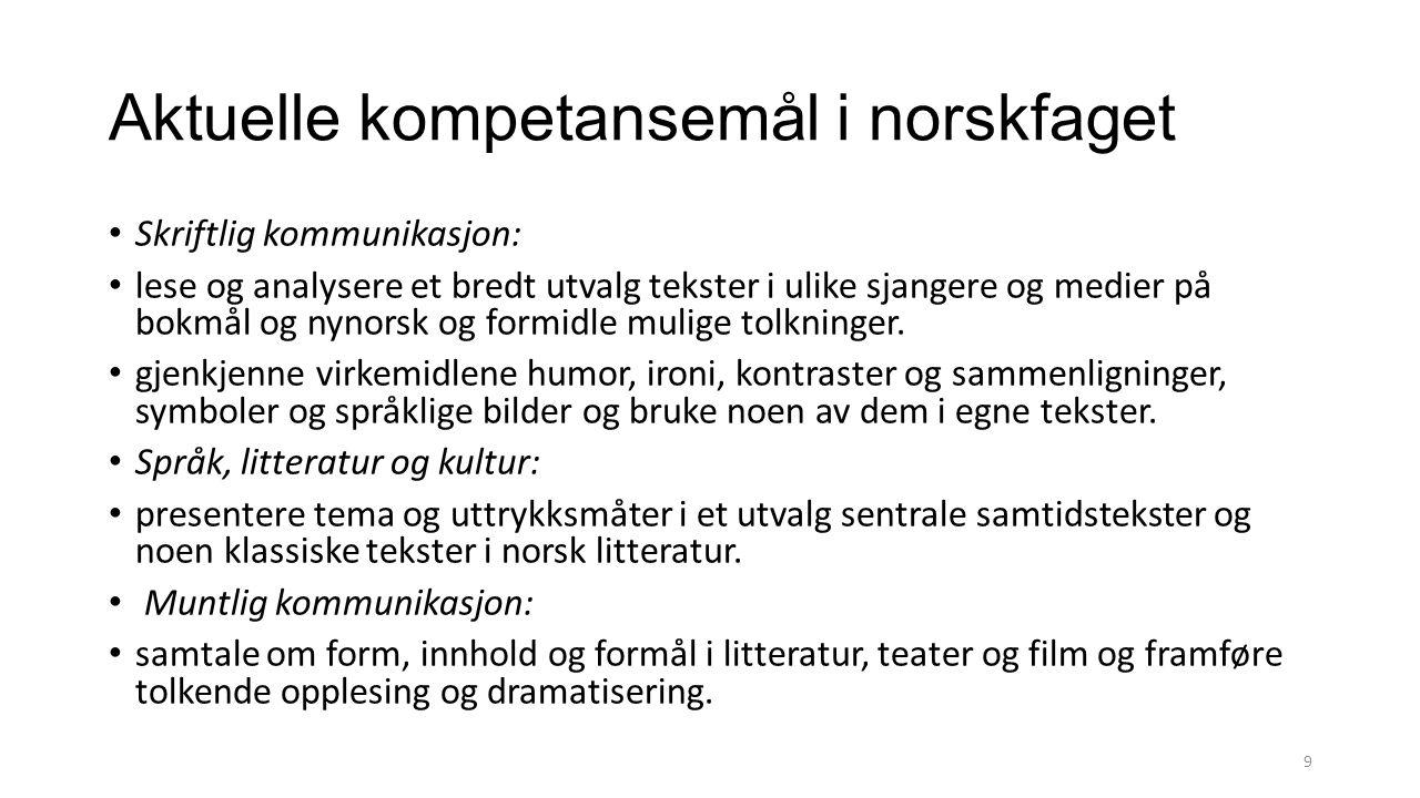 Aktuelle kompetansemål i norskfaget