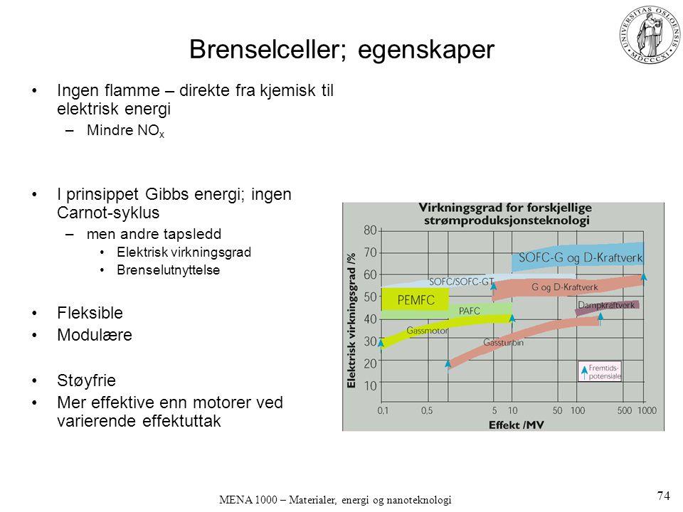 Brenselceller; egenskaper