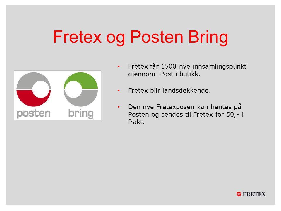 Fretex og Posten Bring Fretex får 1500 nye innsamlingspunkt gjennom Post i butikk. Fretex blir landsdekkende.