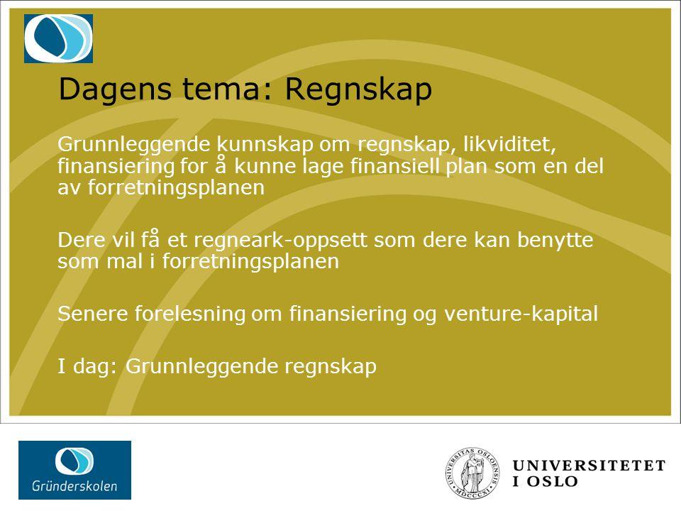 Dagens tema: Regnskap Grunnleggende kunnskap om regnskap, likviditet, finansiering for å kunne lage finansiell plan som en del av forretningsplanen.