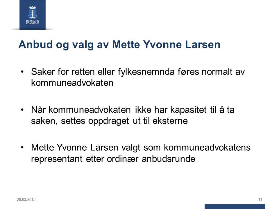 Anbud og valg av Mette Yvonne Larsen