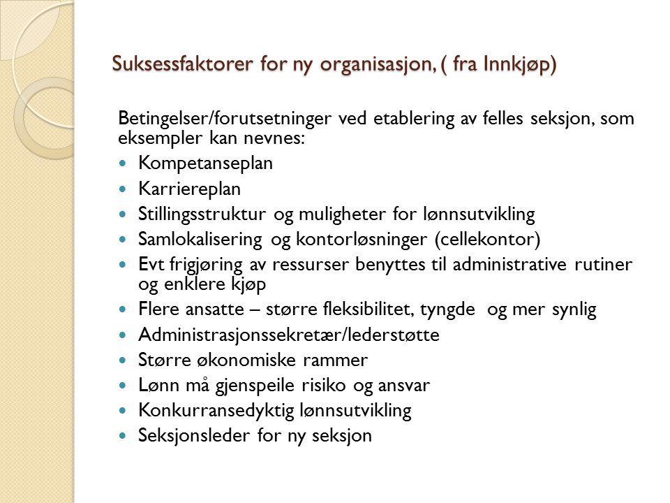 Suksessfaktorer for ny organisasjon, ( fra Innkjøp)