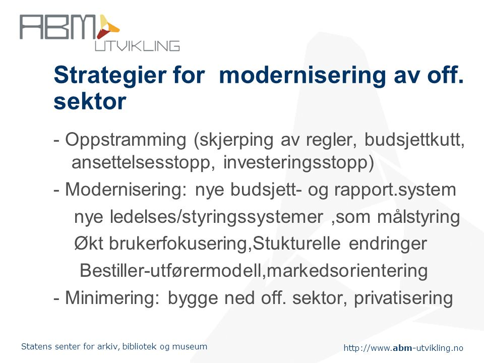Strategier for modernisering av off. sektor