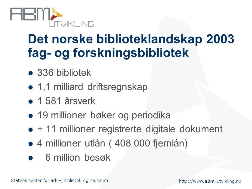 Det norske biblioteklandskap 2003 fag- og forskningsbibliotek