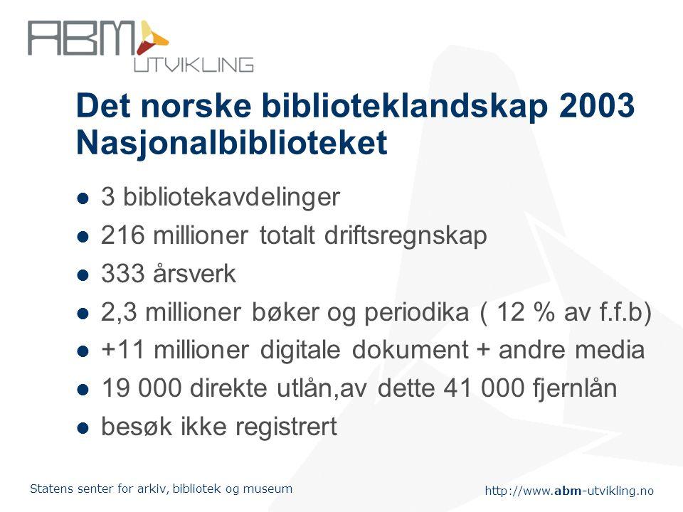 Det norske biblioteklandskap 2003 Nasjonalbiblioteket