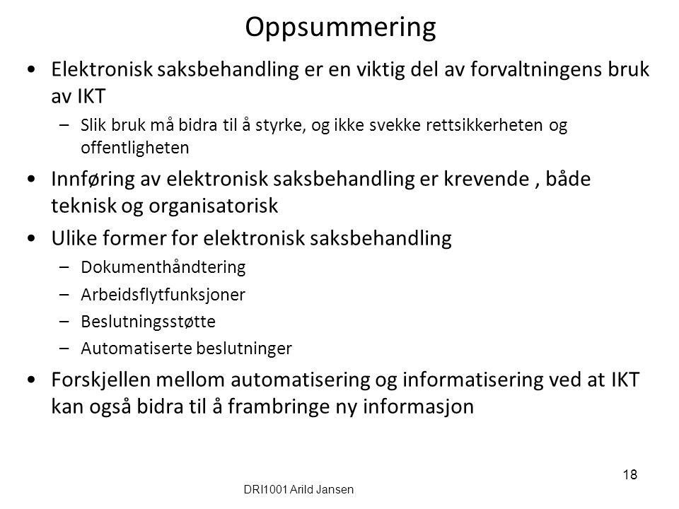 Oppsummering Elektronisk saksbehandling er en viktig del av forvaltningens bruk av IKT.