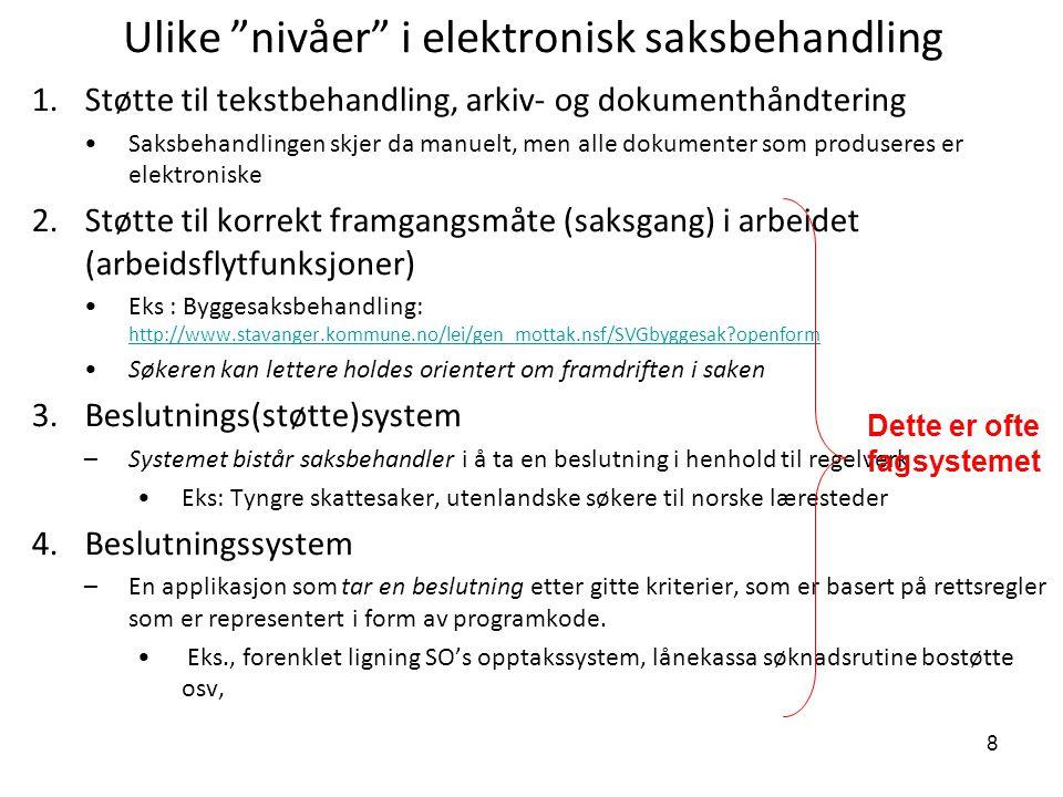 Ulike nivåer i elektronisk saksbehandling