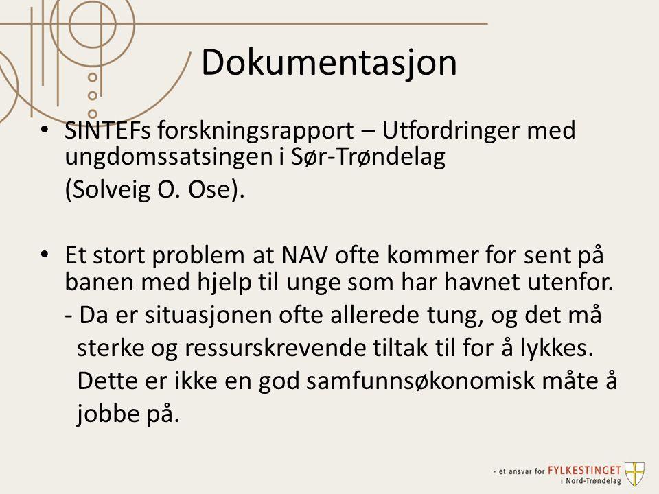 Dokumentasjon SINTEFs forskningsrapport – Utfordringer med ungdomssatsingen i Sør-Trøndelag. (Solveig O. Ose).