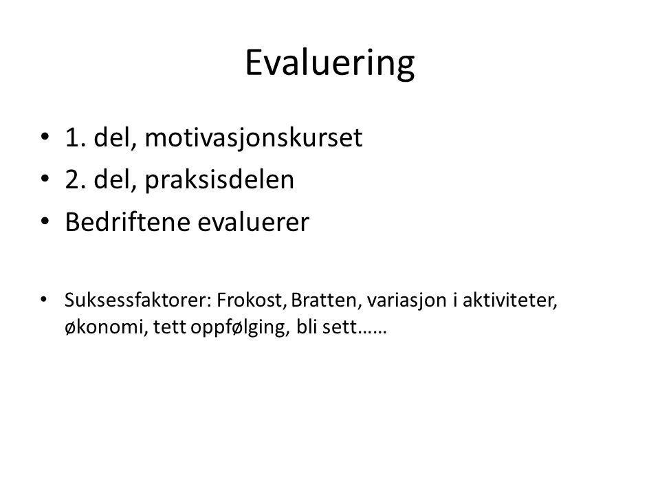Evaluering 1. del, motivasjonskurset 2. del, praksisdelen