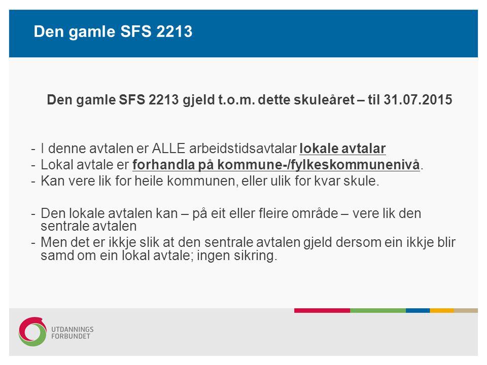Den gamle SFS 2213 gjeld t.o.m. dette skuleåret – til 31.07.2015