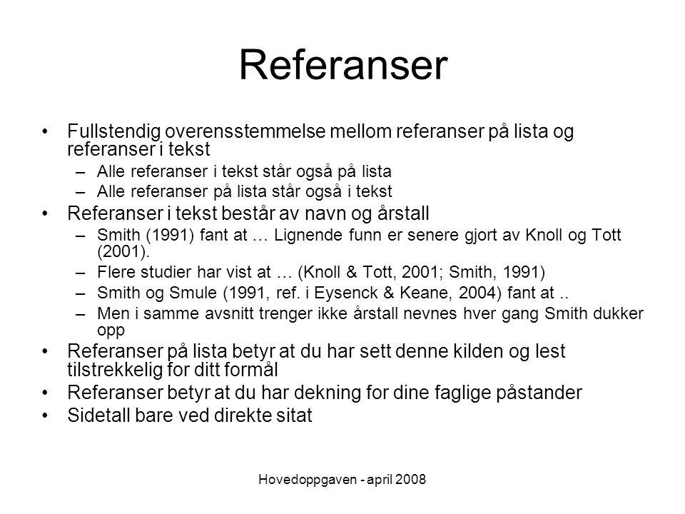 Referanser Fullstendig overensstemmelse mellom referanser på lista og referanser i tekst. Alle referanser i tekst står også på lista.