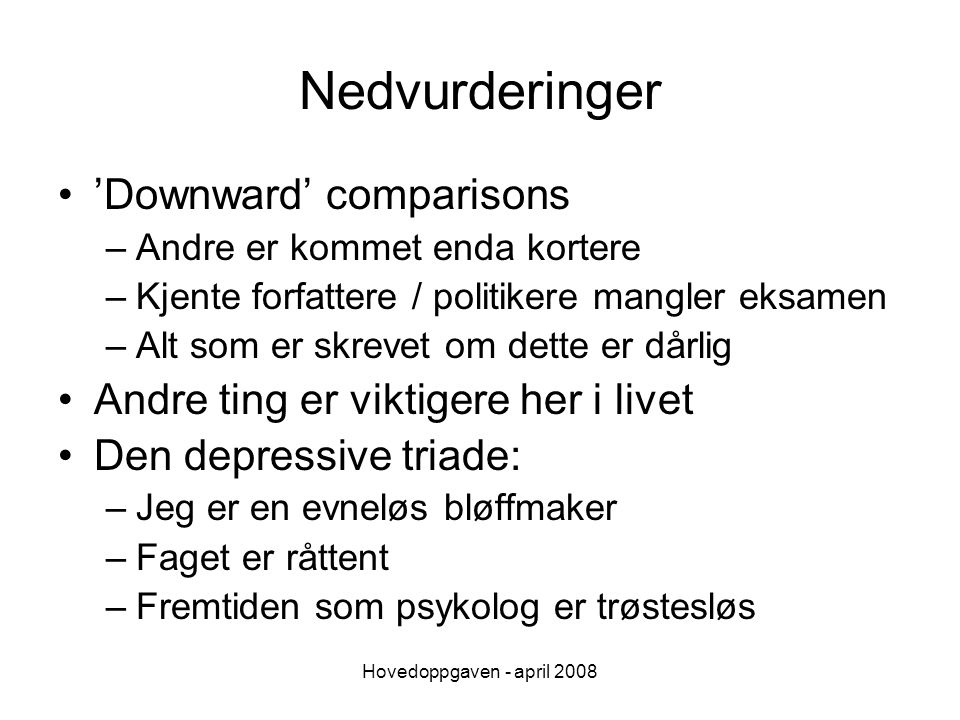 Nedvurderinger 'Downward' comparisons