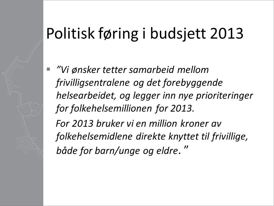 Politisk føring i budsjett 2013