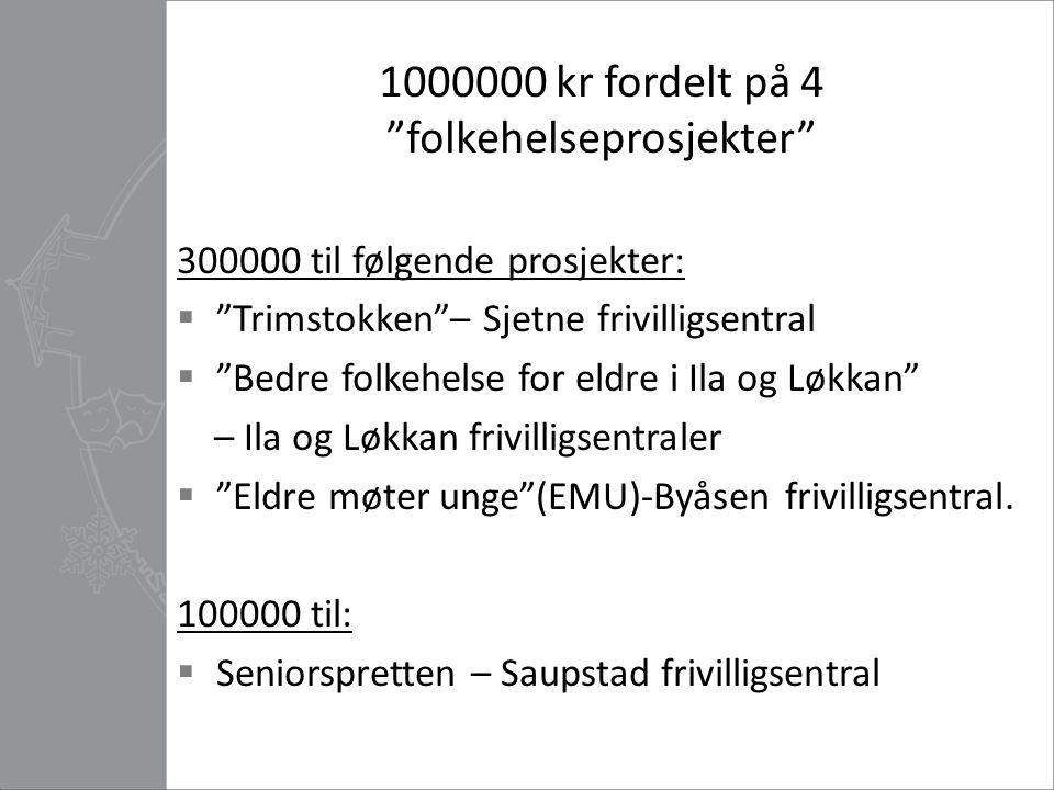 1000000 kr fordelt på 4 folkehelseprosjekter
