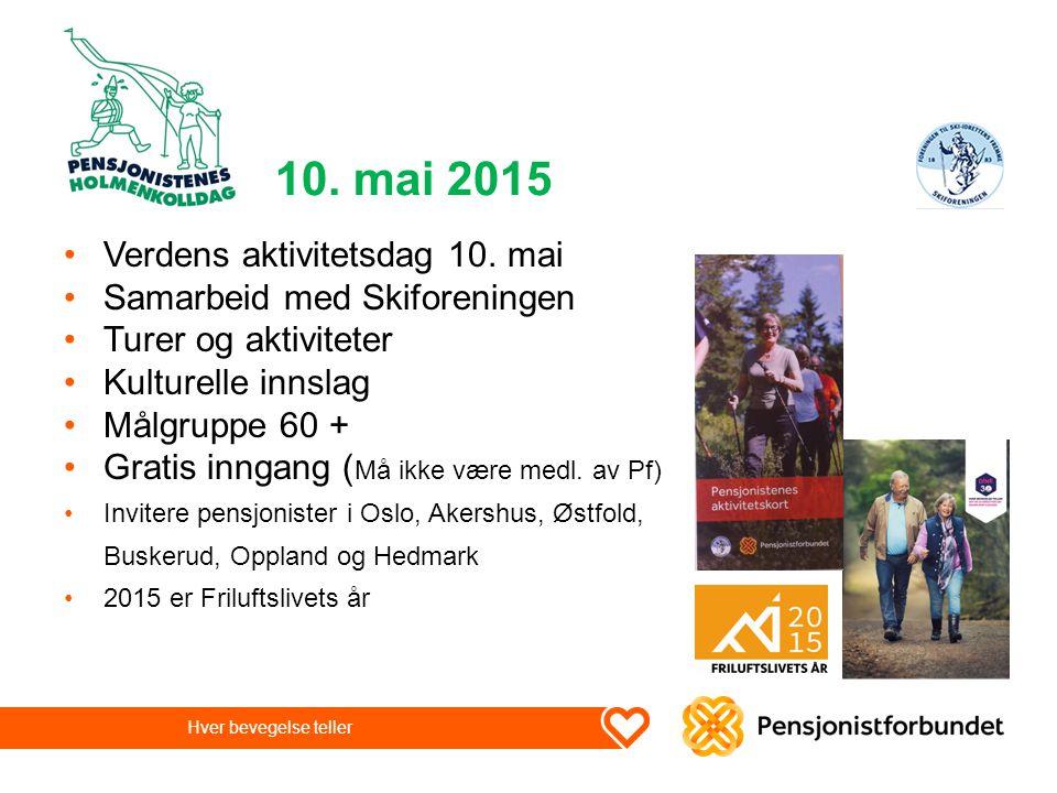 10. mai 2015 Verdens aktivitetsdag 10. mai Samarbeid med Skiforeningen