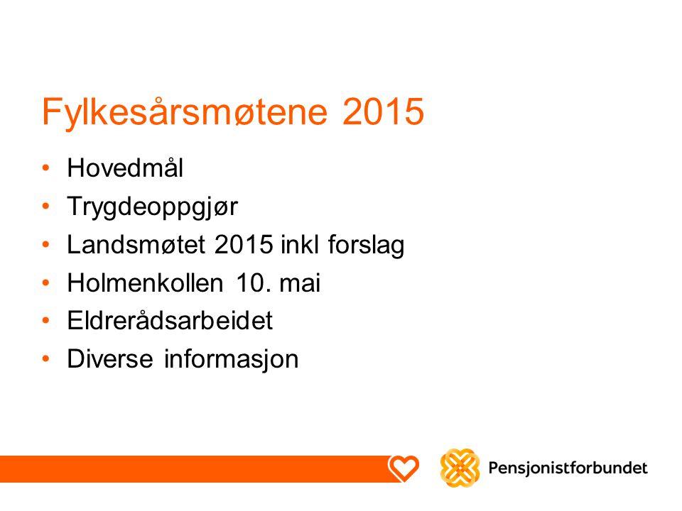 Fylkesårsmøtene 2015 Hovedmål Trygdeoppgjør